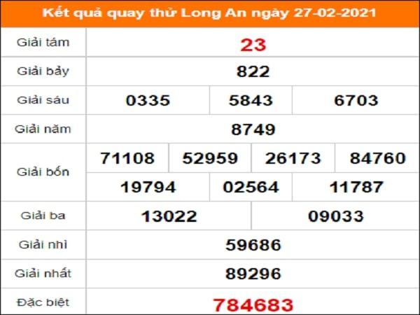 Quay thử Long An ngày 27/2/2021 thứ 7