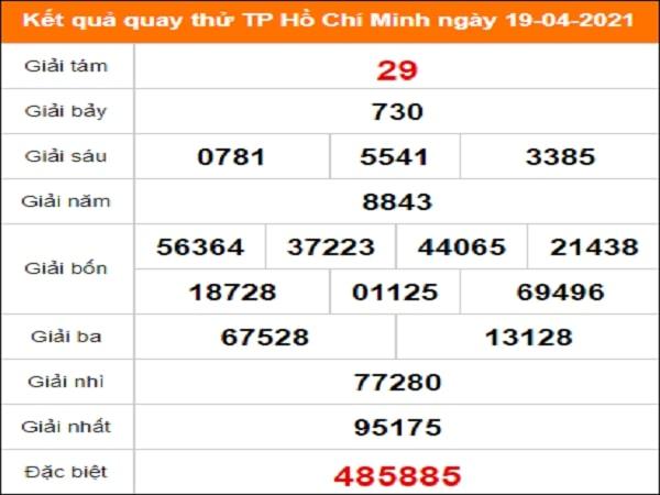 Quay thử kết quả xổ số Hồ Chí Minh ngày 19/4/2021